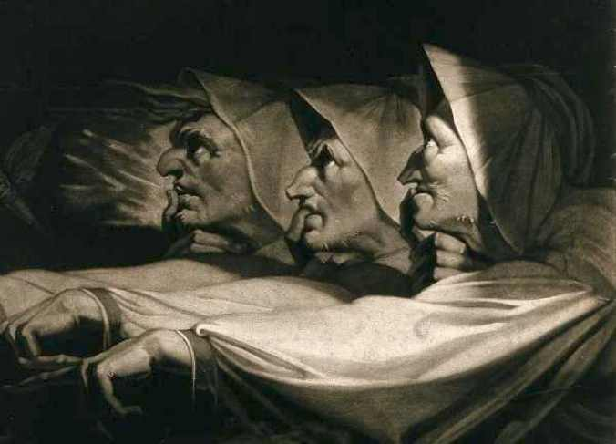 William Shakespeare's 'Macbeth': The three weird sisters (detail). Courtesy of Wikimedia Commons / Wellcome Images. https://commons.wikimedia.org/wiki/File:Macbeth,_Shakespeare;_the_three_weird_sisters_Wellcome_V0044814.jpg | https://wellcome.ac.uk/press-release/thousands-years-visual-culture-made-free-through-wellcome-images