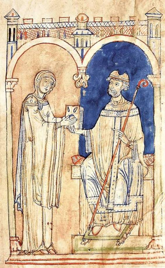 St. Anselm presents his work to Matilda. From a twelfth-century manuscript. Courtesy of Wikimedia Commons