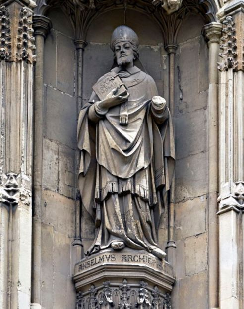 Statue of Anselm outside Canterbury cathedral. Courtesy of Wikimedia Commons / Ealdgyth, under Creative Commons Attribution-Share Alike 3.0 licence. https://commons.wikimedia.org/wiki/File:Anselmstatuecanterburycathedraloutside.jpg