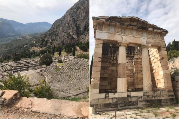 Left: Delphi is high up in the Pindus mountains and included an outdoor theatre. Right: the Athenian Treasury at Delphi