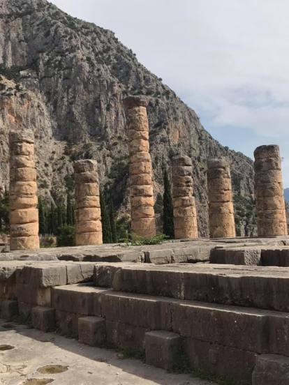 The surviving columns of the Temple of Apollo, from which the Oracle of Delphi operated
