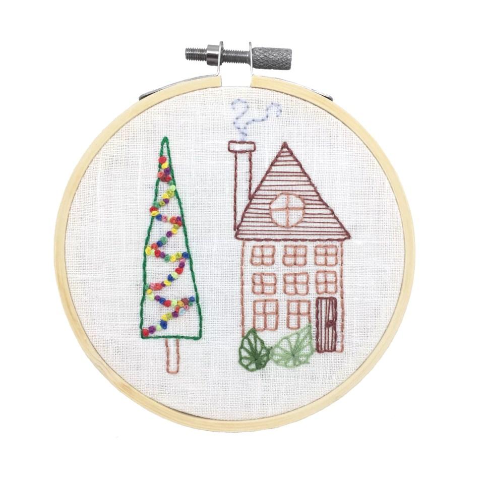 Christmas hand embroidery - house and a tree
