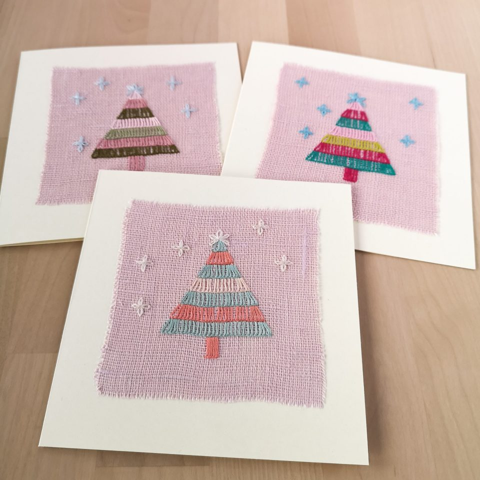 Hand made Christmas greetings cards with hand embroidered Christmas tree