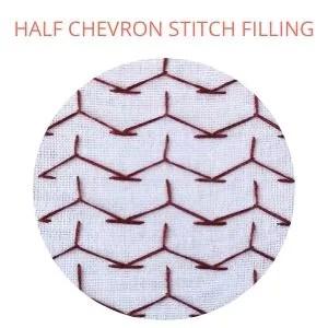 Half chevron stitch filling embroidery