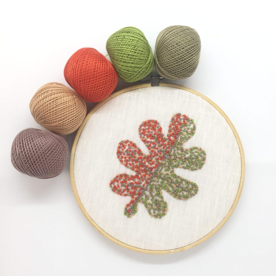 Autumn leaves Oak hand embroidery in a hoop with pearl cotton