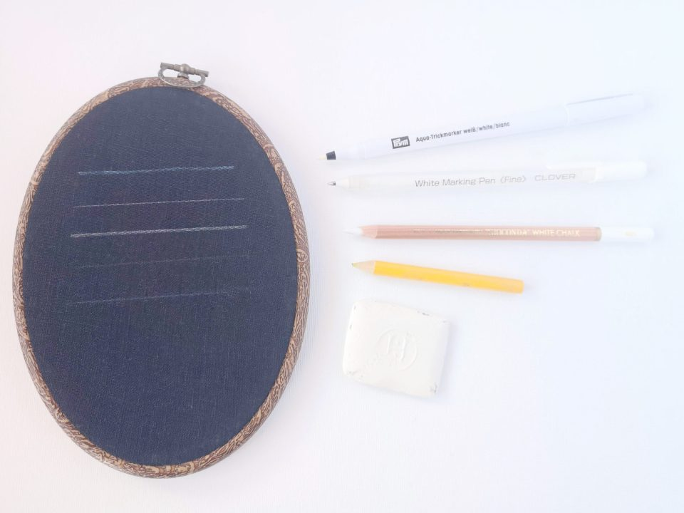 Embroidery pattern transferring tools for dark fabric