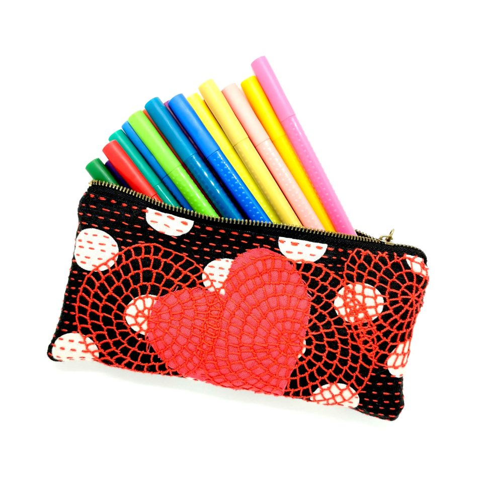 Zip pouch embroidered pencil bag