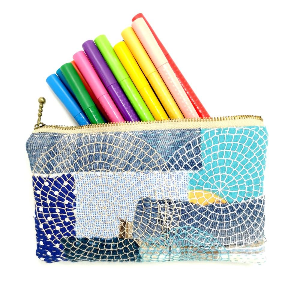 Denim zipper pouch from reclaimed materials