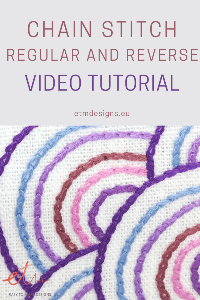Chain stitch video tutorial PIN