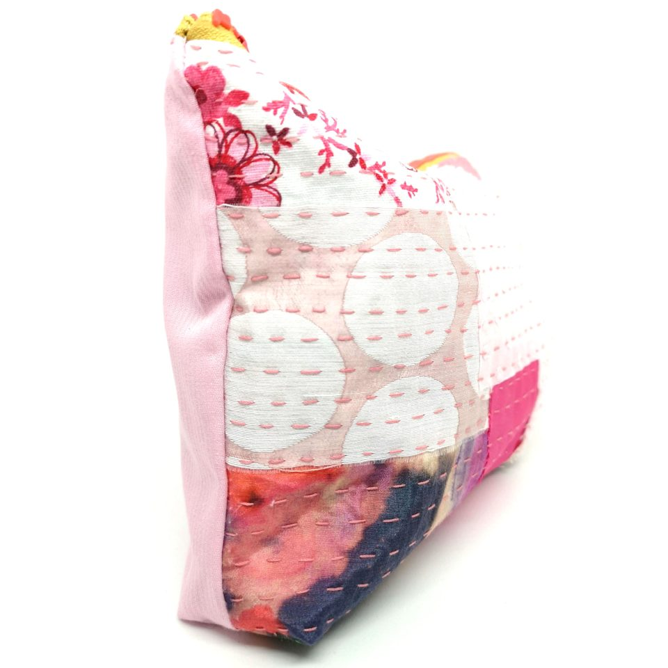 Pink embroidered toiletry bag