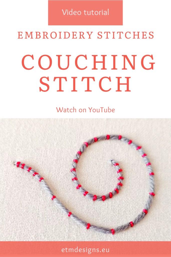 Couching stitch video tutorial PIN