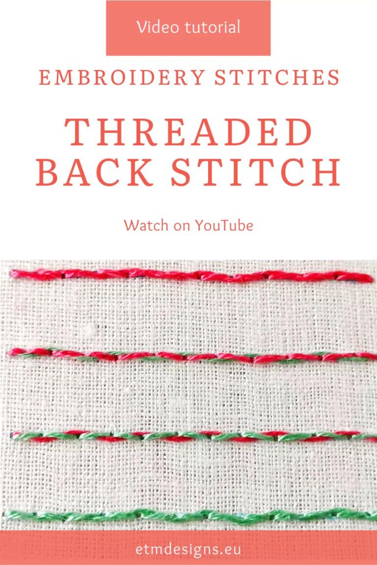 Threaded backstitch video tutorial PIN