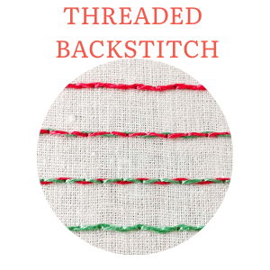 Threaded backstitch hand embroidery