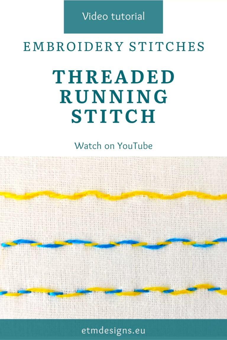 Threaded running stitch video tutorial pin