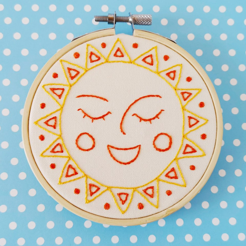 Happy sun hand embroidery pattern