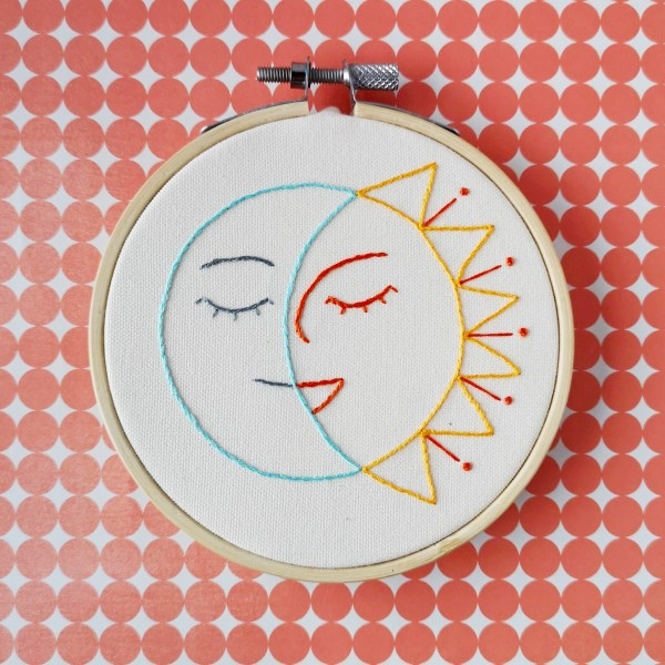 Smiling Sun and Moon hand embroidery pattern