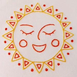 Happy sun embroidery pdf pattern