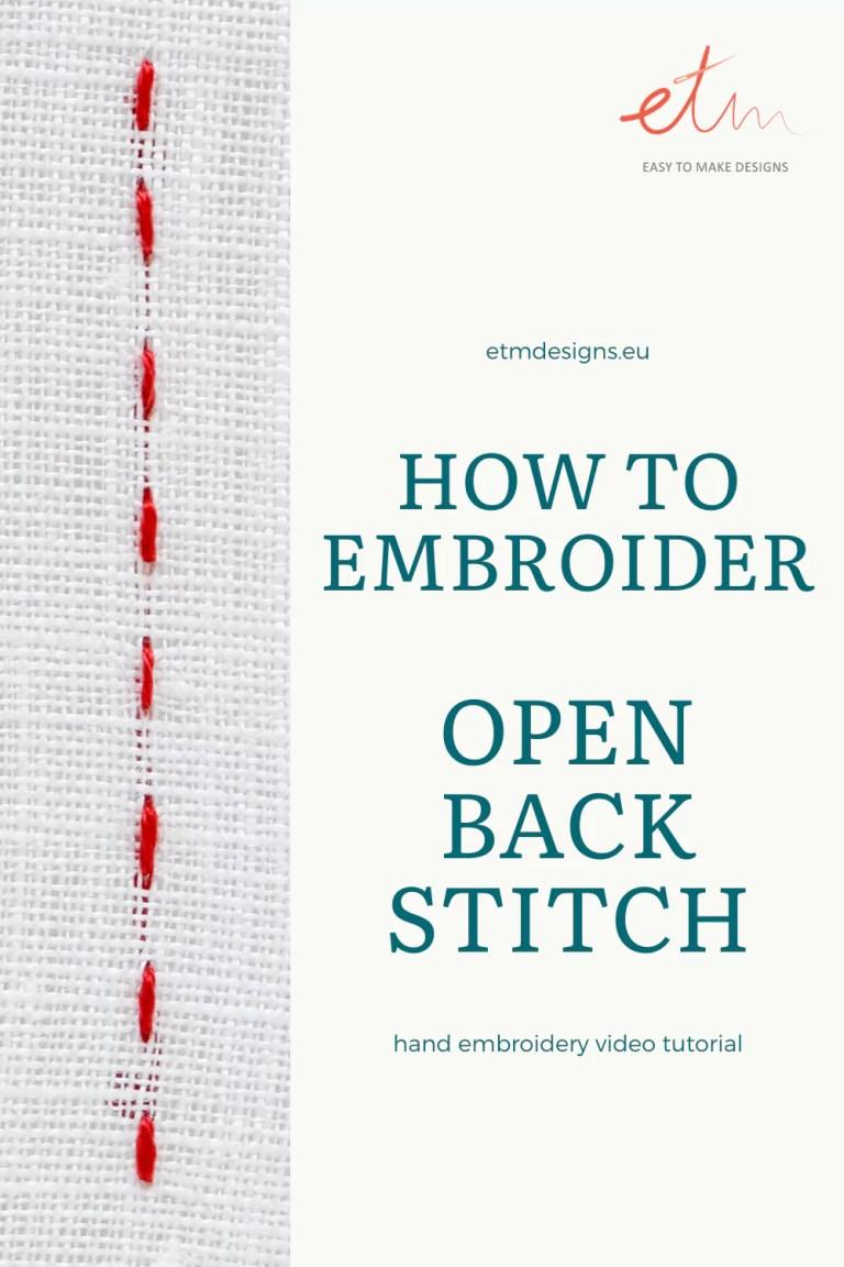 Open backstitch video tutorial PIN