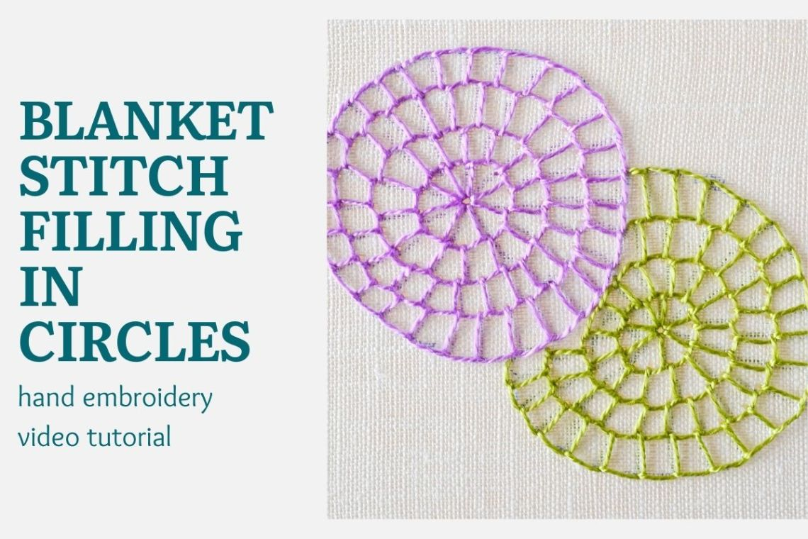 Blanket stitch filling in circles video tutorial