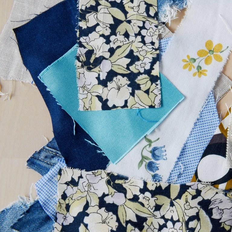 Fabric scraps for zipper pouch tutorial