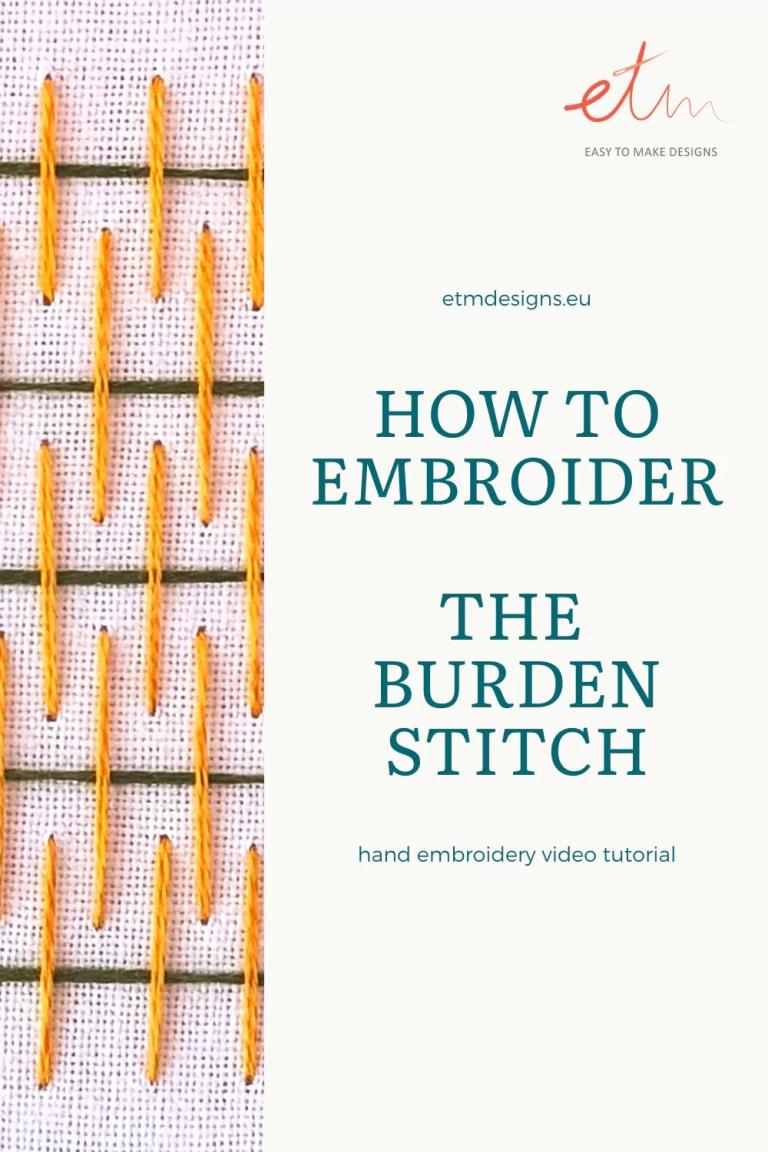Burden stitch video tutorial PIN