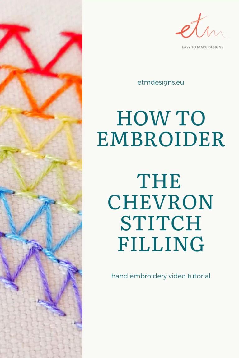 Chevron stitch filling video tutorial PIN