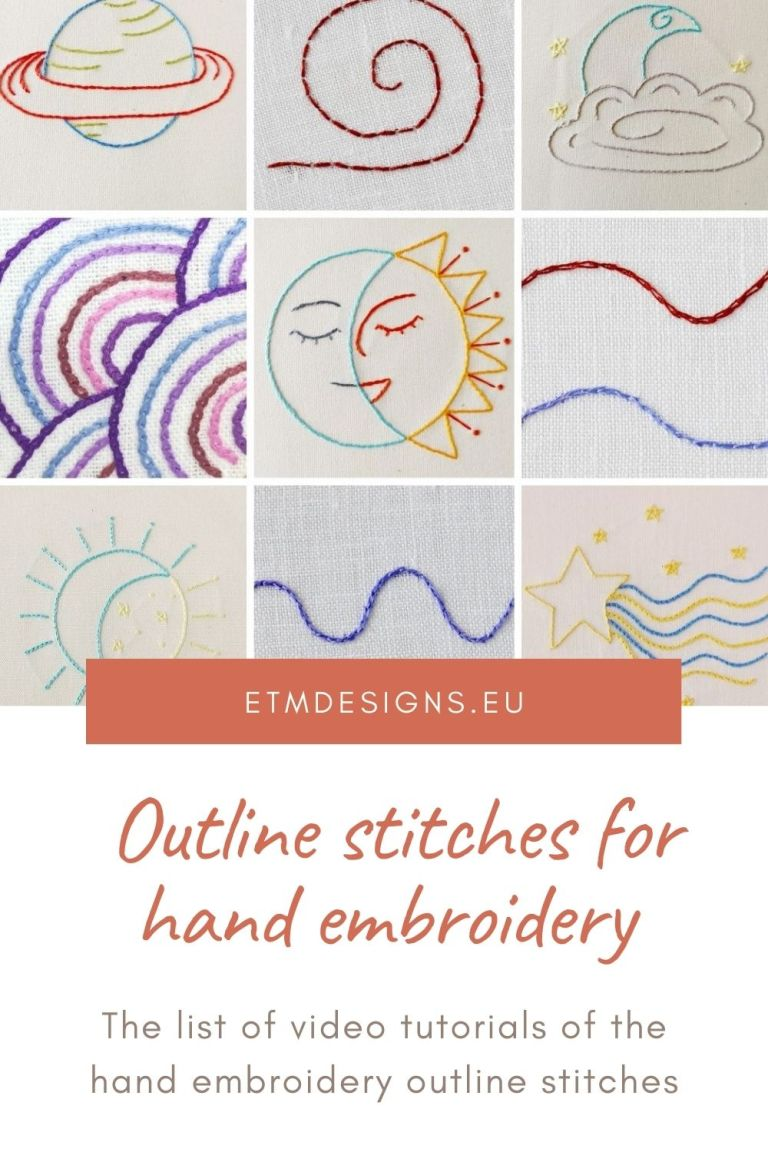 Outline stitches for hand embroidery