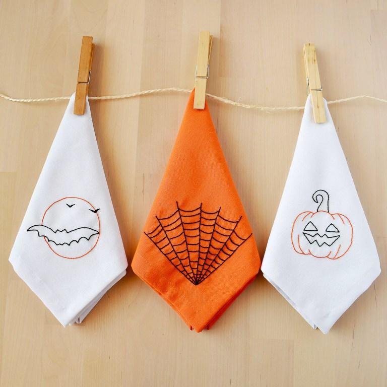 Halloween hand embroidery designs - Bat, cobweb and a pumpkin