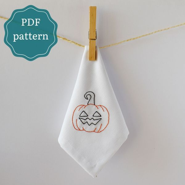 Halloween pumpkin hand embroidery pdf pattern