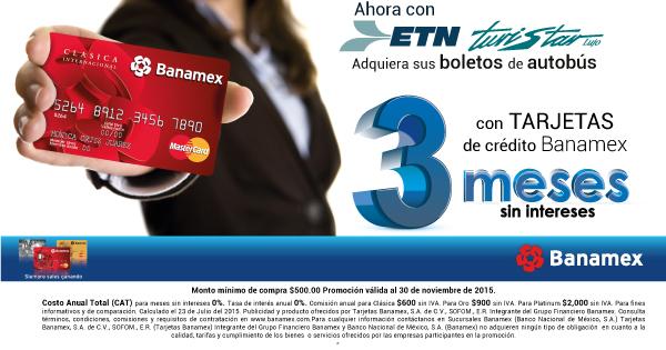 Ahora tus boletos de Autobús a 3 meses sin intereses con Banamex