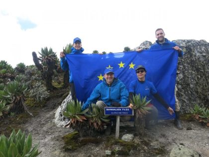 EU Ambassador hoists EU flag on Mt. Rwenzori summit