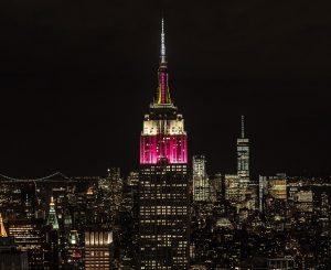 Empire State Building lit up in Qatar Airways colors in honor of airline's 10th anniversary in US