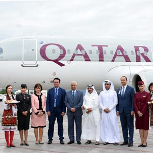 Qatar Airways' inaugural flight touches down at Macedonia's Alexander The Great Airport