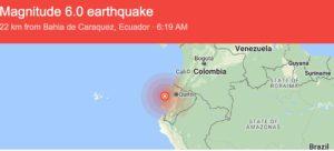 Ecuador Earthquake this morning: 6.0