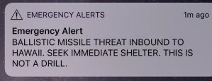 Ballistic missile threat inbound for Hawaii- take immediate shelter !