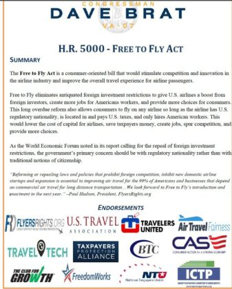 """Free To Fly Act"" by Virginia Congressman Brat endorsed by ICTP: Opening foreign airline investments"