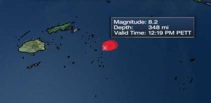 Huge 8.2 earthquake strikes Fiji