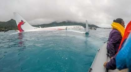 Air Niugini crashed B737 in a lagoon
