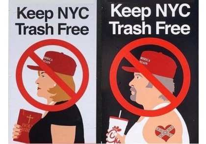 "New ""Keep NYC Trash Free"" posters amuse New York tourists, irk Trumpers"
