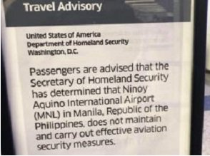 US issues travel advisory for Manila's Ninoy Aquino International Airport
