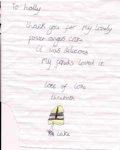 Thank you note from Elizabeth