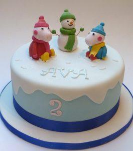 Peppa and George Snowy Day Birthday Cake