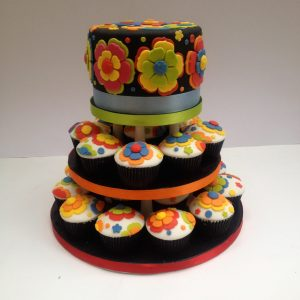 Colourful Flowers Cake and Cupcakes