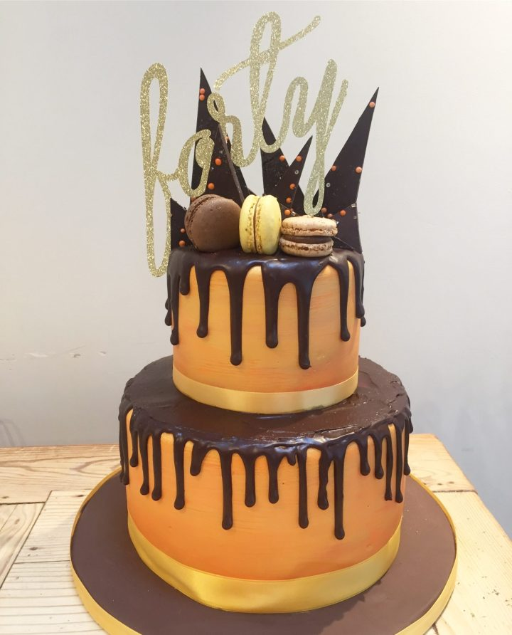Chocolate shard and drip cake