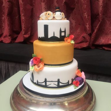 Vibrant Wedding Cake with Silhouette