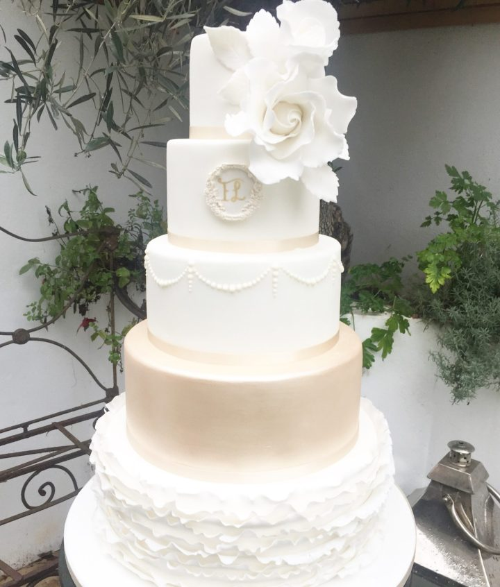 Champagne and Ruffle Wedding Cake