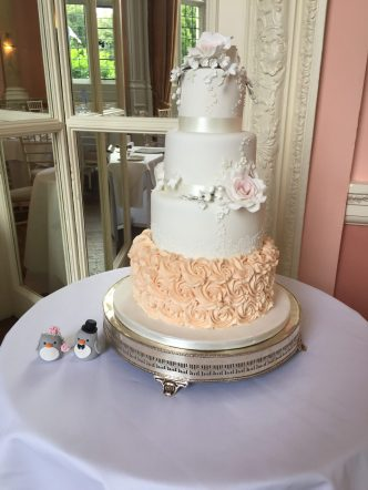 Rose and Lace Wedding Cake with Buttercream Roses