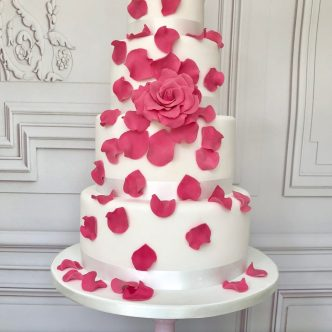 Tumbling Rose Wedding Cake