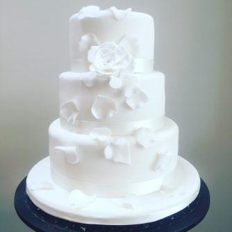 Tumbling Petals Wedding Cake