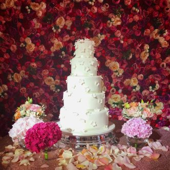 Tumbling Hydrangea Wedding Cake
